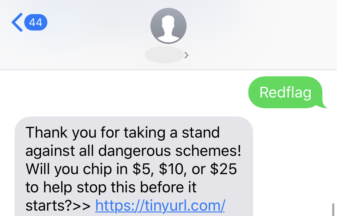 SMS message screenshot, Aug. 7, 2019